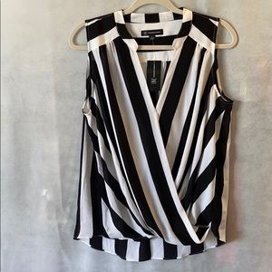 INC Striped Sleeveless Surplice Top